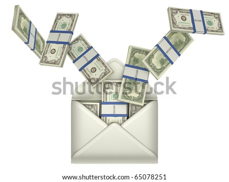 Earnings and money transfer - US dollars in opened envelope over grey - stock photo