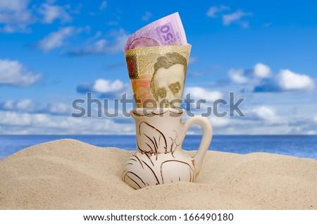 earnings of money, abundance money, rest in the summer - stock photo