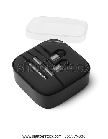 Earphones in Plastic Storage Case on White background
