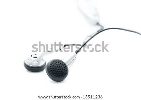 Earphones isolated on white background.