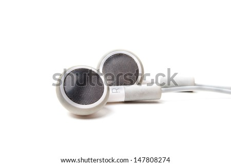 earphones on white background - stock photo