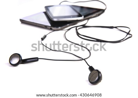 earphones phone tablet isolated on white background - stock photo