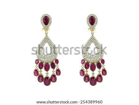 Earrings isolated on a white background - stock photo
