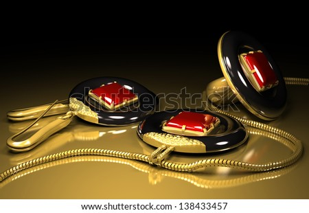 earrings ring and medallion set made out of tantalum and gold