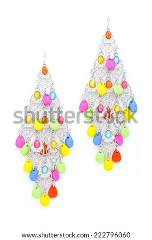 earrings with beads on a white background - stock photo