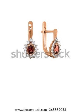 earrings with garnet and diamonds isolated on white