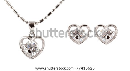 earrings with necklace isolated on white - stock photo
