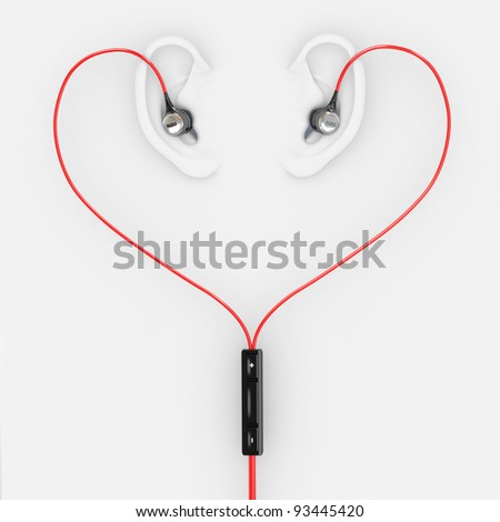 Ears and earphones  in the form of heart. 3d