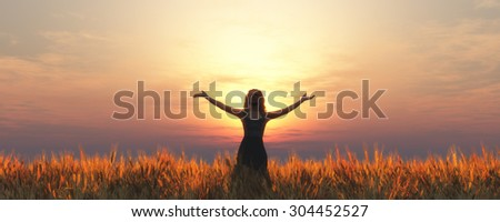 ears of wheat and woman