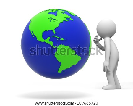 earth/a people is standing in front of the earth thinking