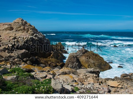 Earth Air and Water Near Spanish Bay on the Pacific Coast of Northern California - stock photo