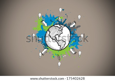 Earth and arrows on paint splashes against grey background with vignette