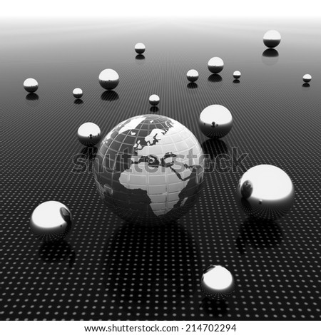Earth and ball on light path to infinity. 3d render  - stock photo