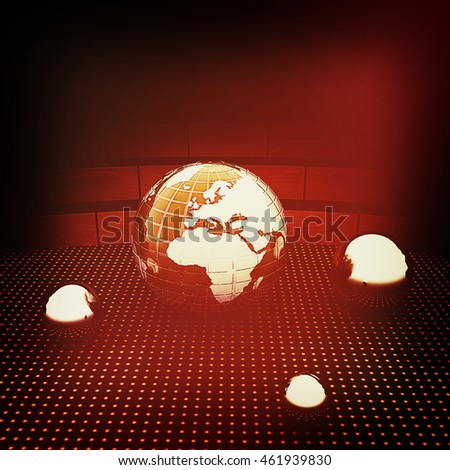 Earth and ball on light path to infinity. 3d render . 3D illustration. Vintage style.