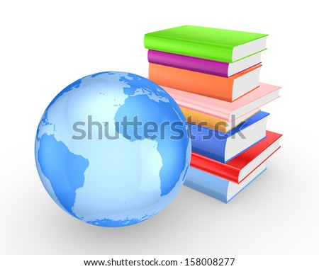 Earth and colorful books.Isolated on white.3d rendered,