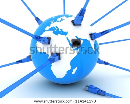 Earth and connect cable (done in 3d) - stock photo