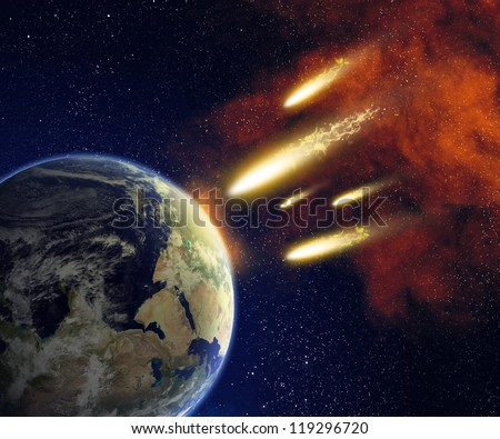 Earth and flying asteroids in space. Asteroid impact. Catastrophe (elements furnished by NASA). - stock photo