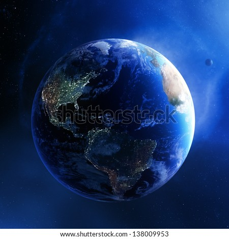 Earth and galaxy with city lights of America - 3d render (Elements of this  image furnished by NASA)