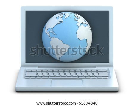 Earth and laptop isolated on white background
