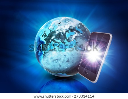 Earth and mobile phone on abstract blue background. Elements of this image furnished by NASA