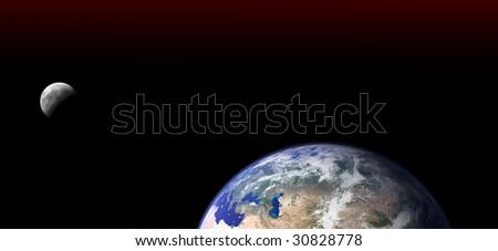 earth and moon - stock photo