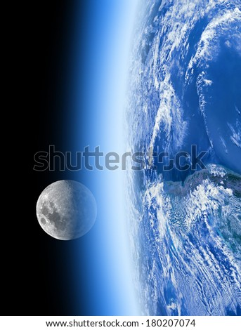 Earth and Moon behind the atmosphere. No stars in background. Moon is my astro-photography work, small part of Earth disk is furnished by NASA/JPL. - stock photo