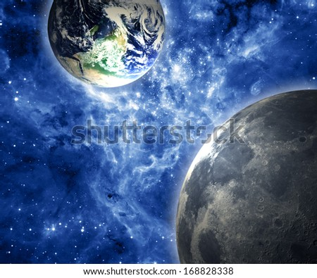 Earth and Moon. Collage of the elements belonging to NASA. - stock photo