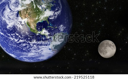 earth and moon. Elements of this image furnished by NASA - stock photo