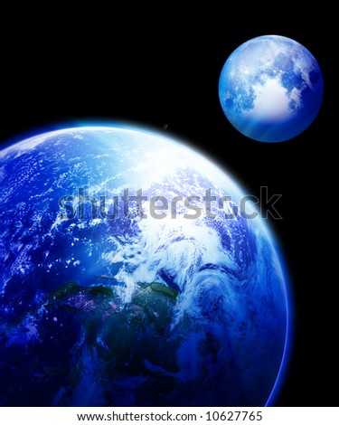 Earth and moon in outer space