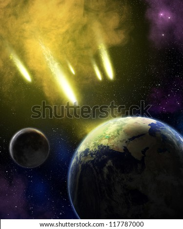 Earth and moon in space with a flying asteroids. Asteroid impact. Catastrophe (elements furnished by NASA). - stock photo