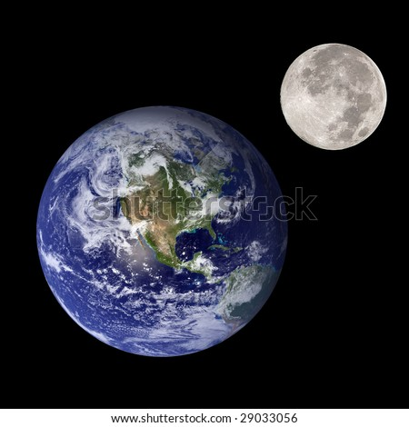 Earth and moon like mother and daughter in outer space  (nasa imagery) - stock photo