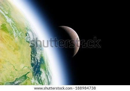 Earth and Moon on a dark background without stars. Elements of this image furnished by NASA/JPL.  - stock photo