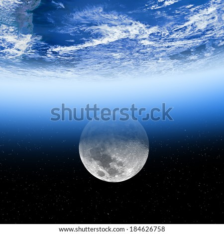 Earth and Moon on a dark starry background. Earth disk furnished by NASA/JPL.  - stock photo