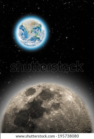 Earth and Moon on a dark starry background. Elements of this image furnished by NASA. - stock photo