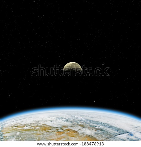 Earth and Moon on a dark starry background. Elements of this image furnished by NASA/JPL.