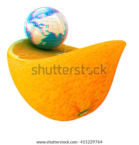 Earth and orange fruit on white background. Creative conceptual image. . 3D illustration. Anaglyph. View with red/cyan glasses to see in 3D.