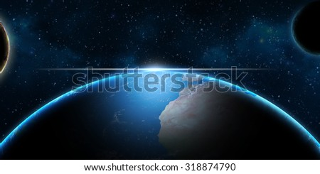 Earth and planets in Universe - fantasy science background  - stock photo