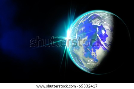 Earth and Rising Sun - stock photo
