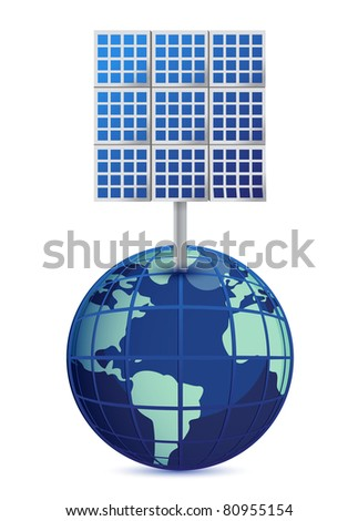 Earth and solar panels isolated on white background