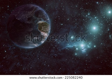 Earth and space THIS IS NOT A DIRECT NASA COPY NASA Images (Elements of this image furnished by NASA)  - stock photo