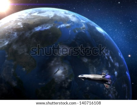 Earth and spaceship - stock photo
