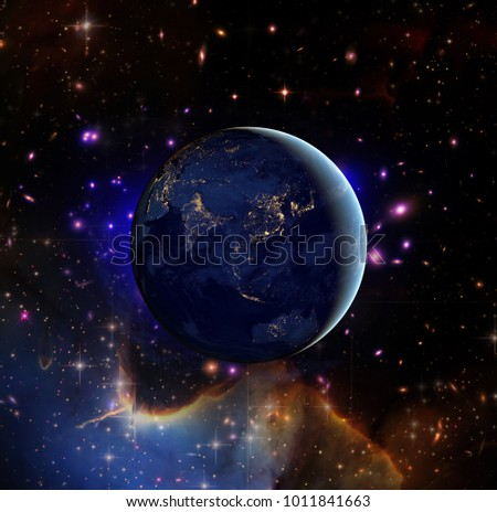 Earth and stars. Night earth. The elements of this image furnished by NASA.
