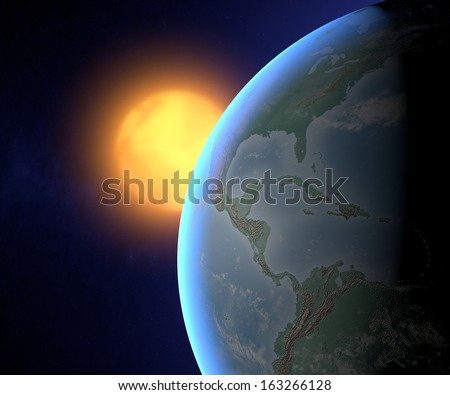 Earth and sun, America view
