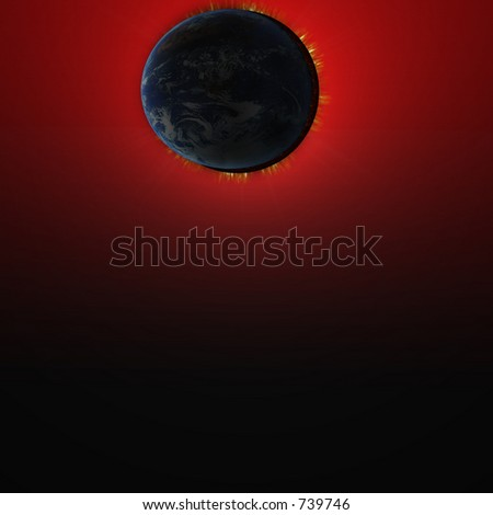 earth and sun eclipse - stock photo