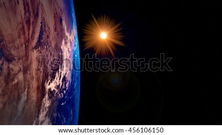 Earth and sun from space. Extremely detailed image. (Elements of this image have been furnished by NASA)