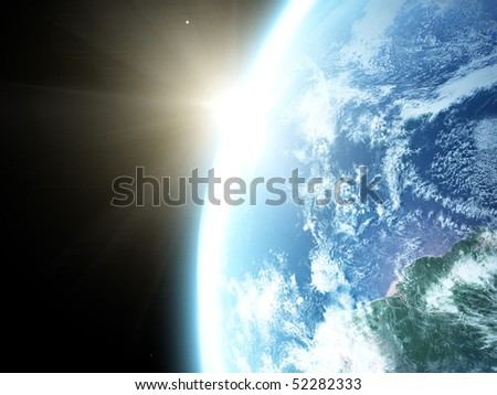 Earth and sun. Space sunrise - stock photo