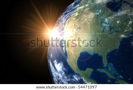 Earth and sun. Space sunrise  America - stock photo