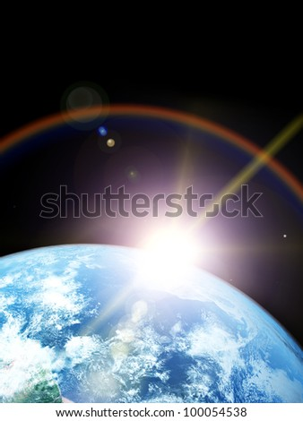 Earth and sun. Space sunrise Elements of this image furnished by NASA - stock photo