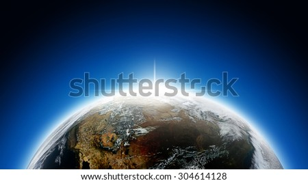 Earth and sunrise  ,Elements of this image furnished by NASA - stock photo