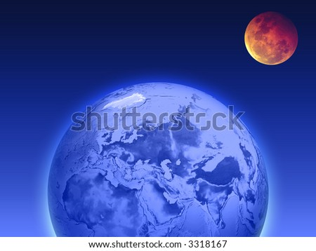 earth and the moon - stock photo
